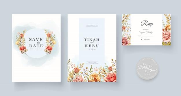 Tarjeta de boda floral acuarela dibujada a mano