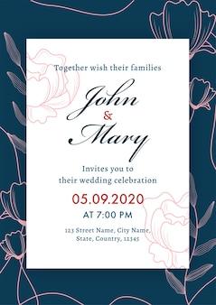 Tarjeta de boda floral, diseño de plantilla o volante con detalles del evento en color blanco y azul.