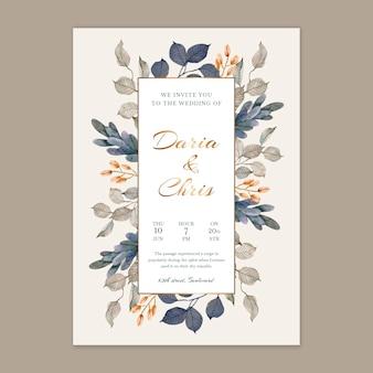 Tarjeta de boda floral vertical