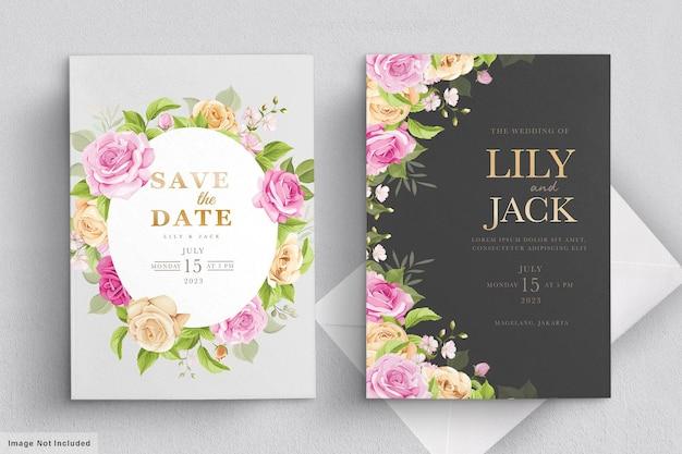 Tarjeta de boda con flores rosas
