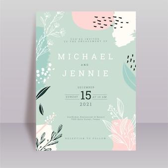 Tarjeta de boda de formas abstractas florales