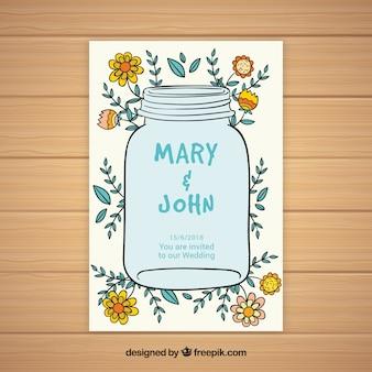 Tarjeta de boda de frasco con bocetos de elementos florales