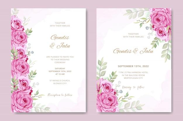 Tarjeta de boda con hermosa plantilla acuarela floral