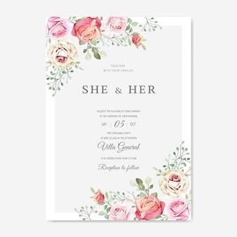 Tarjeta de boda con hermosa plantilla floral