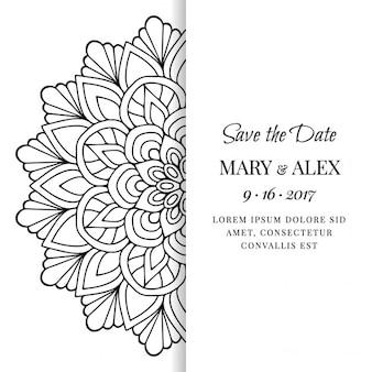 Tarjeta de boda con un mandala blanco y negro