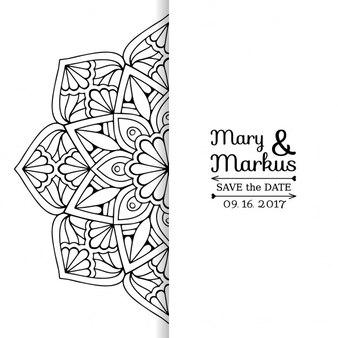 Tarjeta de boda con un mandala floral blanco y negro