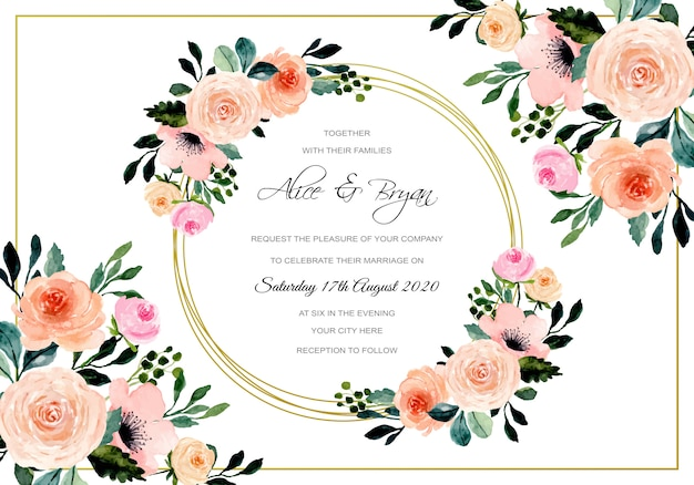 Tarjeta de boda con marco dorado floral acuarela