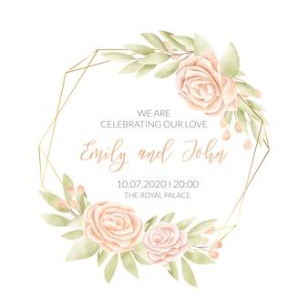 Tarjeta de boda con marco floral