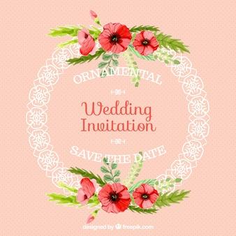 Tarjeta de boda de marco redondo ornamental