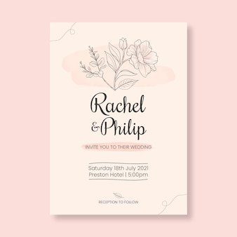 Tarjeta de boda minimalista floral