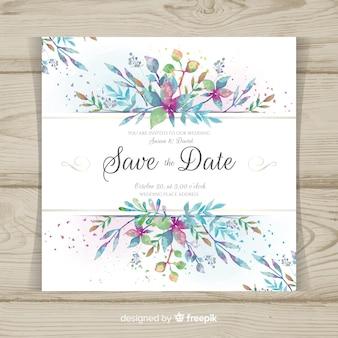 Tarjeta de boda moderna con hojas en acuarela