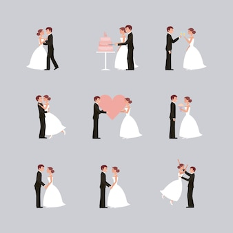 Tarjeta de boda novia y el novio cogidos de la mano en flores de corazón