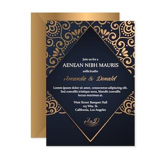 Tarjeta de boda de oro