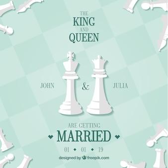 Tarjeta de boda con piezas de ajedrez
