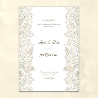 Tarjeta de boda pospuesta diseño dibujado a mano