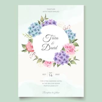 Tarjeta de boda con ramo de hortensias y rosas