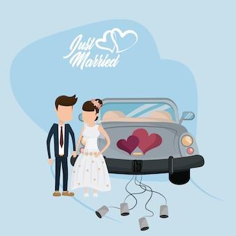 Tarjeta de boda recién casada