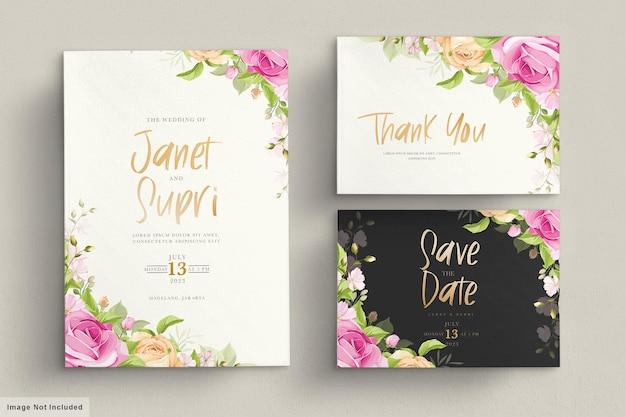 Tarjeta de boda con rosas de color rosa suave