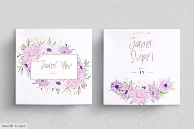 Tarjeta de boda con suave flor de crisantemo