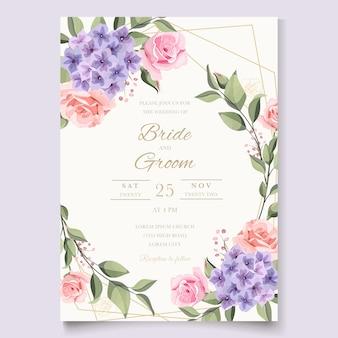 Tarjeta de boda vintage con rosas