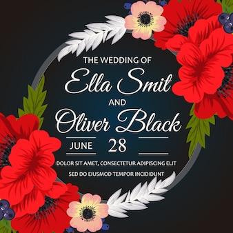 Tarjeta de bodas negra con flores rojas