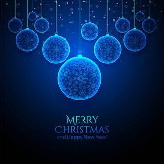 Tarjeta de bola de copo de nieve de navidad brillante