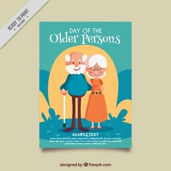 Tarjeta de bonita pareja de abuelos paseando en un parque
