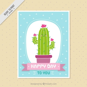 Tarjeta de bonito cactus dibujado a mano
