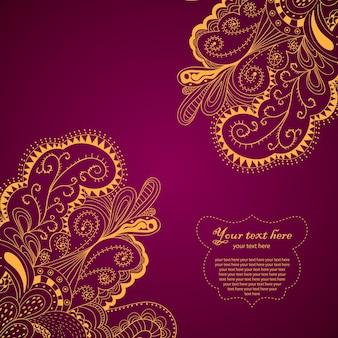 Tarjeta de borde de elemento decorativo con diseño de onda e ilustración de tema de paisley