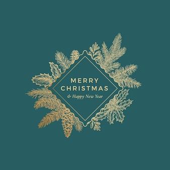 Tarjeta botánica de feliz navidad con marco de rombo