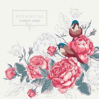 Tarjeta botánica floral con rosas y pájaros.