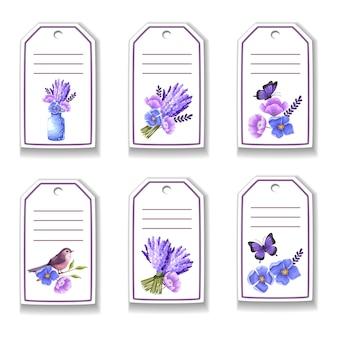 Tarjeta botánica con flores, mariposas, pájaros.
