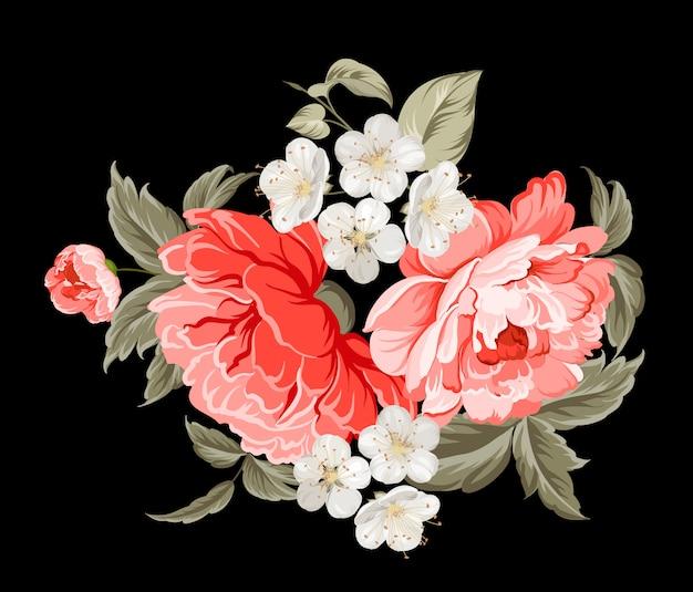 Tarjeta botánica de flores de primavera.