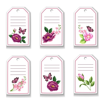 Tarjeta botánica con flores, rosas, mariposas, hojas.