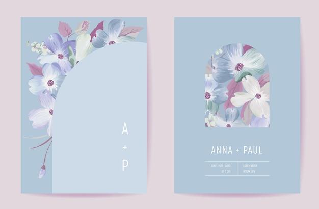Tarjeta botánica de invitación de boda floral. cartel de flores de cornejo floreciente de boho, conjunto de marcos, vector de plantilla violeta mínima moderna. ahorre la fecha diseño de moda de follaje dorado, folleto de lujo