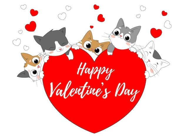 Tarjeta brillante para el día de san valentín con gatos y corazones.