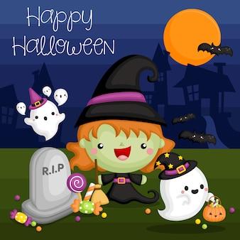 Tarjeta de bruja de halloween