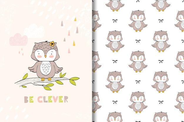 Tarjeta de búho lindo y patrones sin fisuras. ilustración infantil