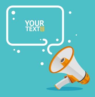Tarjeta de burbujas de texto de megáfono con lugar para el texto. plano.