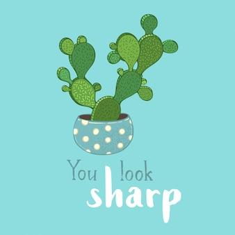 Tarjeta de cactus bunny ear
