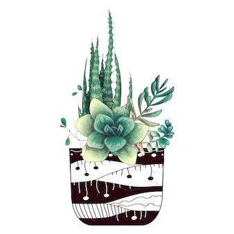 Tarjeta con cactus y conjunto de suculentas.