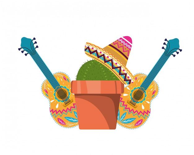 Tarjeta de cactus con maceta y sombrero mexicano