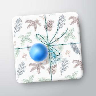 Tarjeta de caja de regalo de navidad.