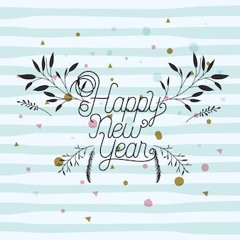 Tarjeta de caligrafía de feliz año nuevo con hojas de corona