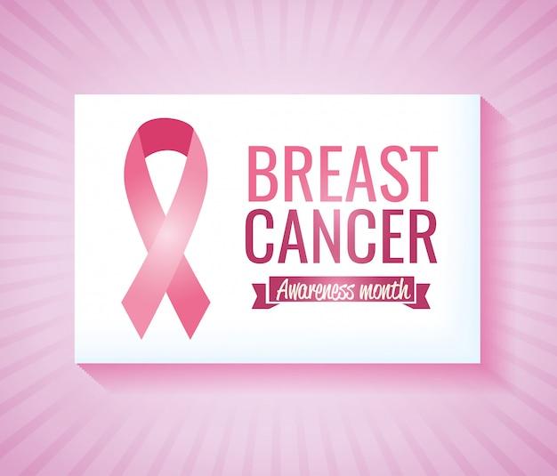 Tarjeta de campaña de concientización sobre el cáncer de mama