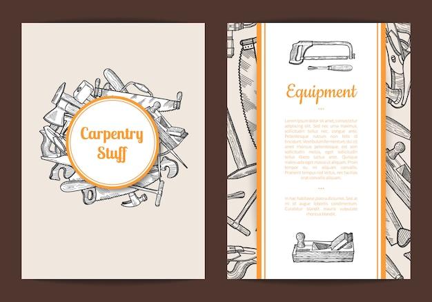 Tarjeta de carpintería dibujada a mano o ilustración de plantilla de volante