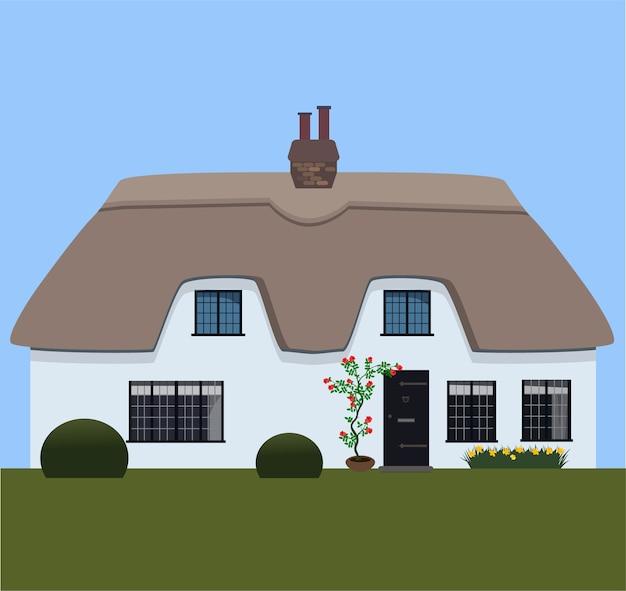 Tarjeta con casa de campo con techo de paja inglesa