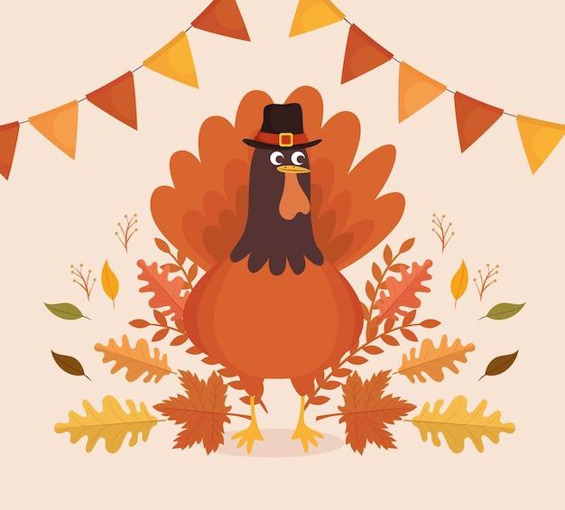 Tarjeta de celebración de acción de gracias feliz con diseño de ilustración de pavo y guirnaldas
