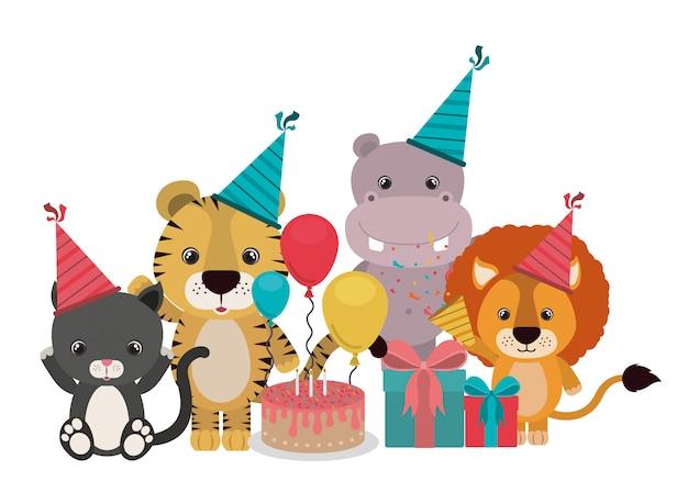 Tarjeta de celebración con animales en blanco