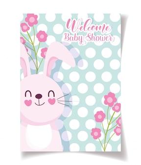 Tarjeta de celebración de bebé ducha conejo y flores, plantilla de invitación de bienvenida